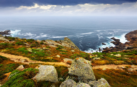 galicia: ocean  coast  in  grey day. Galicia