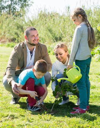 plantando un arbol: ? Sonriente americano de la familia de cuatro miembros plantar un árbol al aire libre en un clima soleado