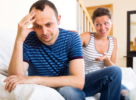 reconciliation: Heavy reconciliation between the adult spouses after huge quarrel. Focus on the man