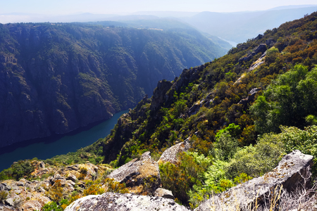 sil: Sil river with steep rocky banks.  Spain Stock Photo