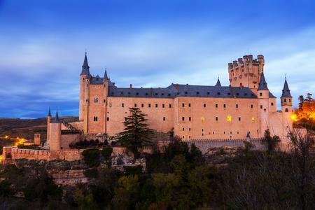 segovia: Alcazar of Segovia in november twilight.   Spain