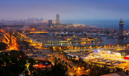cruis: View to Port Vell of Barcelona in night.  Spain