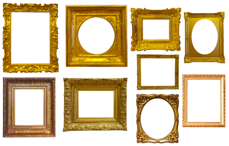 silvery: Set of isolated art empty frames in golden and silvery color Stock Photo
