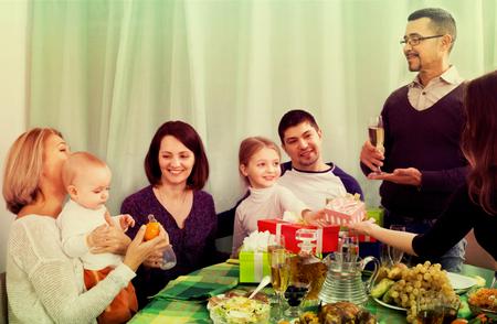 granny and grandad: Family kids celebrating birthday little girl together