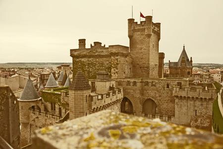 fib: fantasy castle. Toned image of Olite castle in Spain Stock Photo