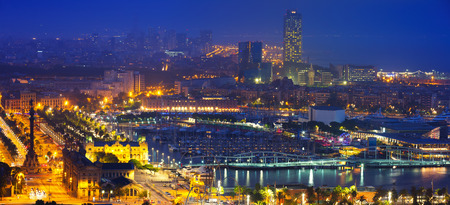 View to  Barcelona  in night time. Catalonia, Spain