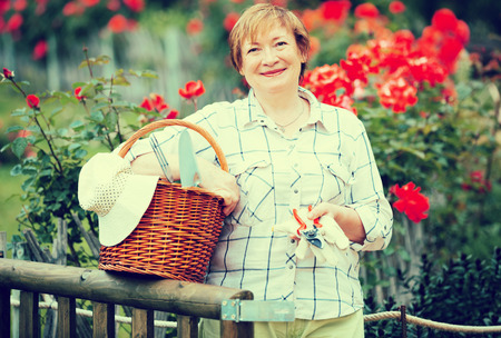 the sixties: portrait of cheerful retiree woman with basket and gardening tools standing outdoors Stock Photo