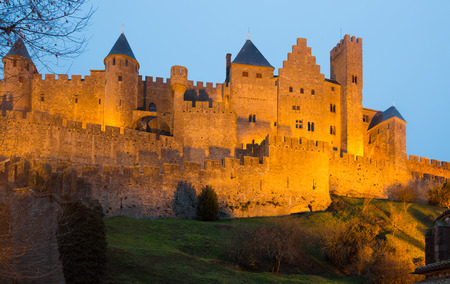 antiquary: Medieval Castle at Carcassonne in sunset time.  France