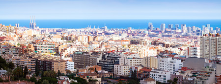 panoramic view of picturesque metropolitan area in sunny day. Barcelona
