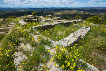 karkas: View on old buildings carcass on archeological site san Antonio settlement in Spain