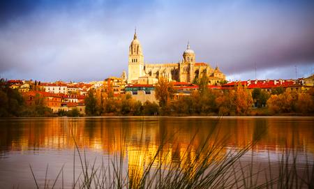 salamanca: Salamanca Cathedral from  River  in autumn.   Spain