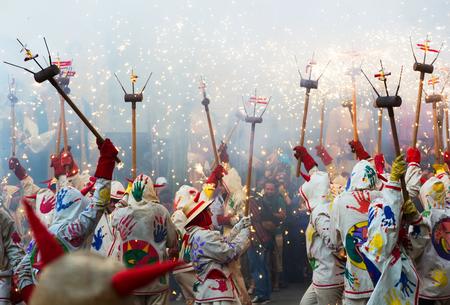 fiestas: BADALONA, SPAIN - MAY 10, 2014:  Fiestas de Mayo - show with different  fireworks on  town square at Badalona during  night of Saint Anastasi.