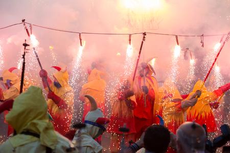 fiestas: BADALONA, SPAIN - MAY 10, 2014: Night of Saint Anastasi. Show with  fireworks on the town square at Badalona