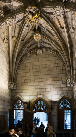 15th century: BARCELONA, SPAIN - APRIL 23, 2016: Ancient  architecture in palace Generalitat de Catalunya dated 15th century. Barcelona, Spain Editorial