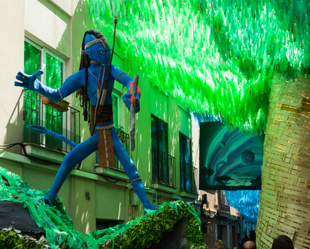 cine: BARCELONA, SPAIN - AUGUST 16, 2015:   Major de Gracia Festival  in Barcelona, Spain. Decorated streets of Gracia district.  Avatar film theme Editorial