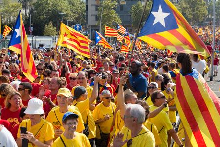 demanding: BARCELONA, SPAIN - SEPTEMBER 11, 2014: Rally demanding independence for Catalonia.  Barcelona, Spain Editorial