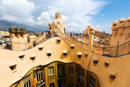 BARCELONA, SPAIN - JUNE 15, 2015: Roof of  La Pedrera built in 1905–1910 by Catalan architect Antoni Gaudi. Barcelona, Spain Editorial