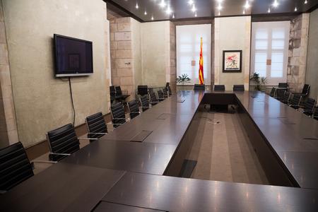 BARCELONA, SPAIN - APRIL 23, 2016:  Interior of Antoni Tapies Hall (Sala Antoni Tapies) in palace Generalitat de Catalunya.  Barcelona