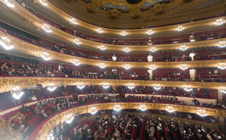 beethoven: BARCELONA, SPAIN - MARCH 27, 2015: Audience at Beethoven Concert in The Gran Teatre del Liceu in Barcelona, Catalonia.