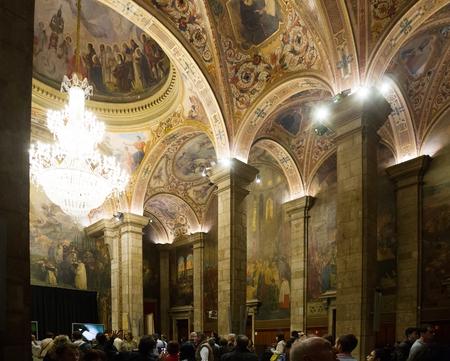 generalitat: BARCELONA, SPAIN - APRIL 23, 2016: Interior of St. George Hall   in palace Generalitat de Catalunya. Built in XVI-XVII century. Barcelona, Spain