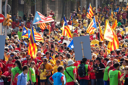 cityspace: BARCELONA, SPAIN - SEPTEMBER 11, 2014: Rally to 300th anniversary of  loss of independence of Catalonia (National Day of Catalonia)  in Barcelona, Spain