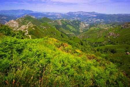 picos: mountains landscape in summer day. Picos de Europa, Asturia, Spain