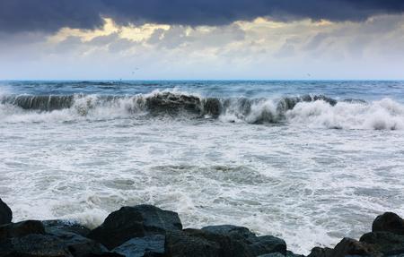 windy day: wave near stones coast in windy day Stock Photo