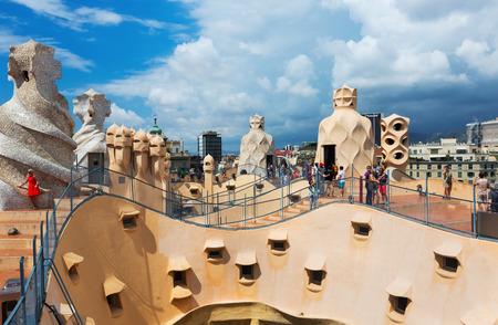 BARCELONA, SPAIN - JUNE 15, 2015: Roof of Casa Mila (La Pedrera) built in 1905–1910 by Catalan architect Antoni Gaudi. Barcelona, Spain Editorial