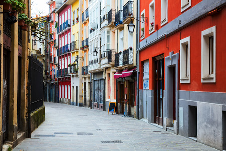 dwelling: typical dwelling houses in historic part of  Vitoria-Gasteiz.   Spain Stock Photo