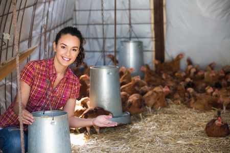 forage: Happy female farmer holding bucket with forage for chicken in farm house Stock Photo