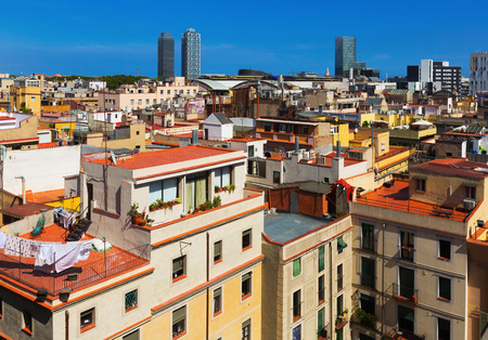 Day view of Barcelona city  from Santa Maria del mar.  Spain