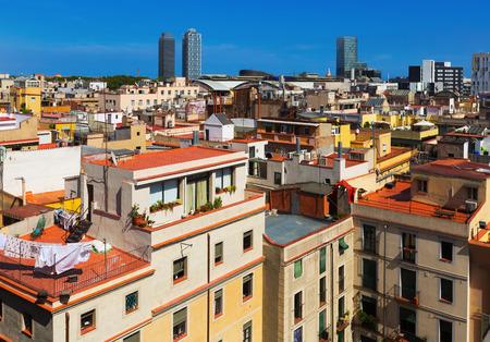 gotico: Opinión del día de la ciudad de Barcelona desde Santa María del mar. España Foto de archivo
