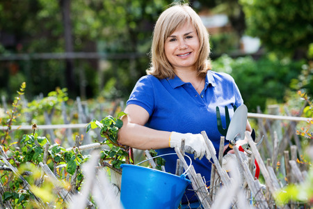 horticultural: Charming blond mature woman  holding horticultural tools in garden on sunny day