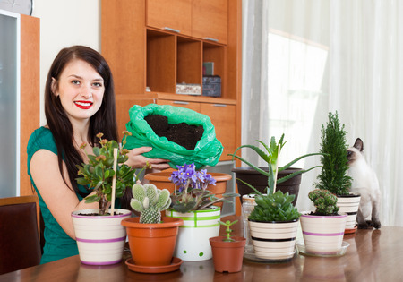 replant: Smiling girl working with  flowers in pots at home