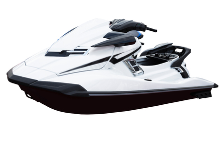 manoeuvre: Personal water craft (PWC) isolated on white close up