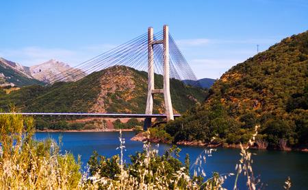 LUNA: Cable-stayed bridge over reservoir of Barrios de Luna.   Spain