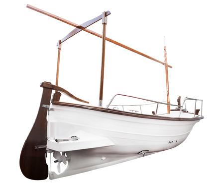 yacht isolated: Recreational motor yacht isolated on white close up