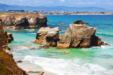 As Catedrais beach - is located in  Ribadeo municipality, in the province of Lugo (Galicia),  Atlantic Ocean coast. Spain Stock Photo