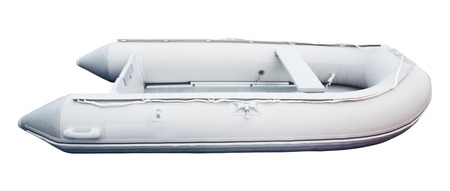 manoeuvre: Inflatable pulling boat isolated on white close up