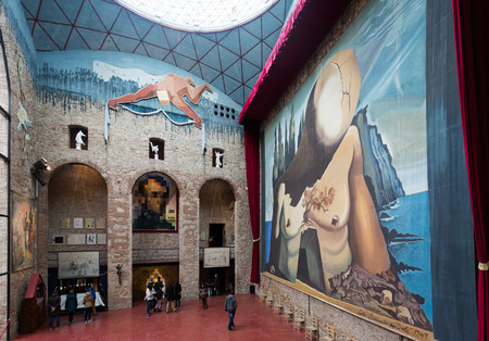 surrealist: FIGUERES, SPAIN - JANUARY 03, 2016: Hall with Curtain for labyrinth in The Dali Theatre and Museum (Teatre-Museu Dali), Catalonia