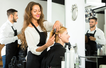 hairtician: Beautiful hairdresser styling womans hair with a comb in a salon Stock Photo