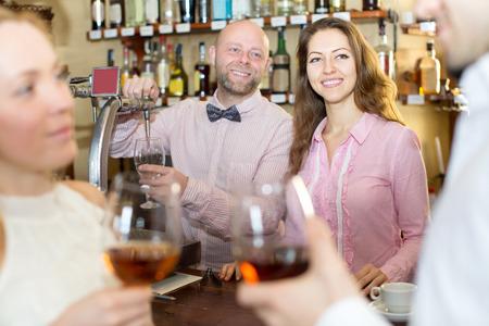 restaurant staff: Portrait of the restaurant staff at the bar Stock Photo