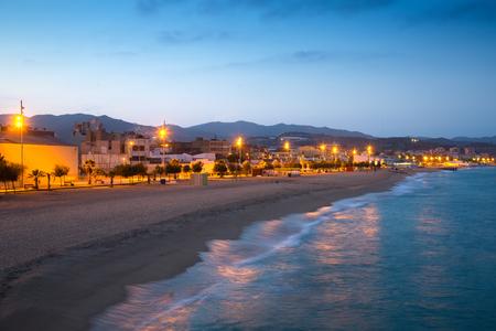 beach of Badalona in twilight time. Catalonia, Spain