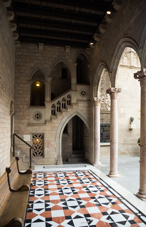 dated: Gothic architecture   dated 15th century in palace Generalitat de Catalunya. Barcelona, Spain