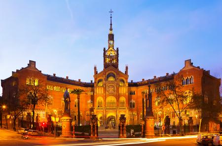Facade of Hospital de Sant Pau in sunset time. Barcelona, Catalonia