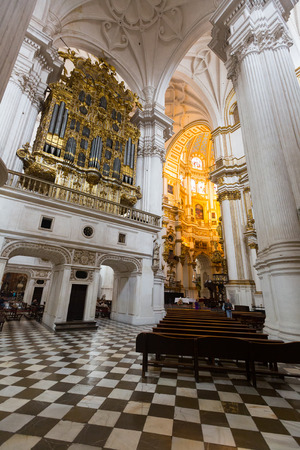 incarnation: GRANADA, SPAIN - MAY 13, 2016:  Interior of   Cathedral of the Incarnation at Granada. Andalusia,  Spain Editorial