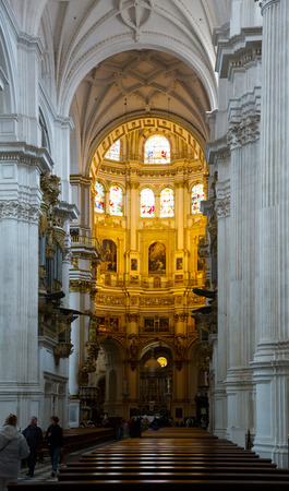 incarnation: GRANADA, SPAIN - MAY 13, 2016: Interior of Granada Cathedral.  Spain Editorial