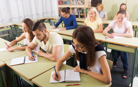 finding a mate: Young caucasian students studying in the classroom interior