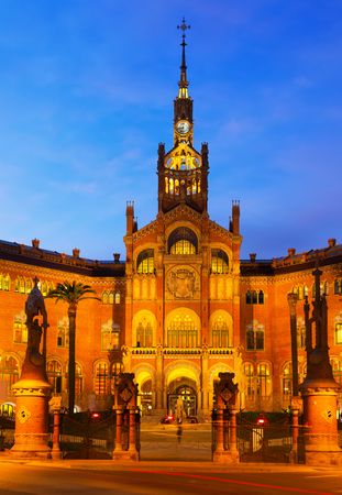 Hospital de Sant Pau in evening. Barcelona, Spain