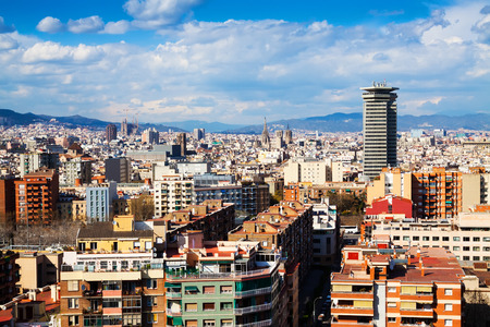 montjuic: Top view of Barcelona from Montjuic hill in cloudy day. Catalonia, Spain Stock Photo